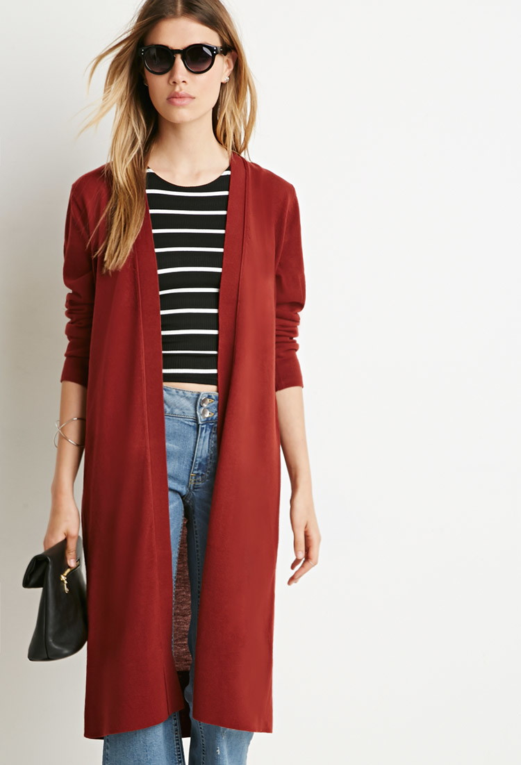 Forever 21 Classic Longline Cardigan in Brown | Lyst