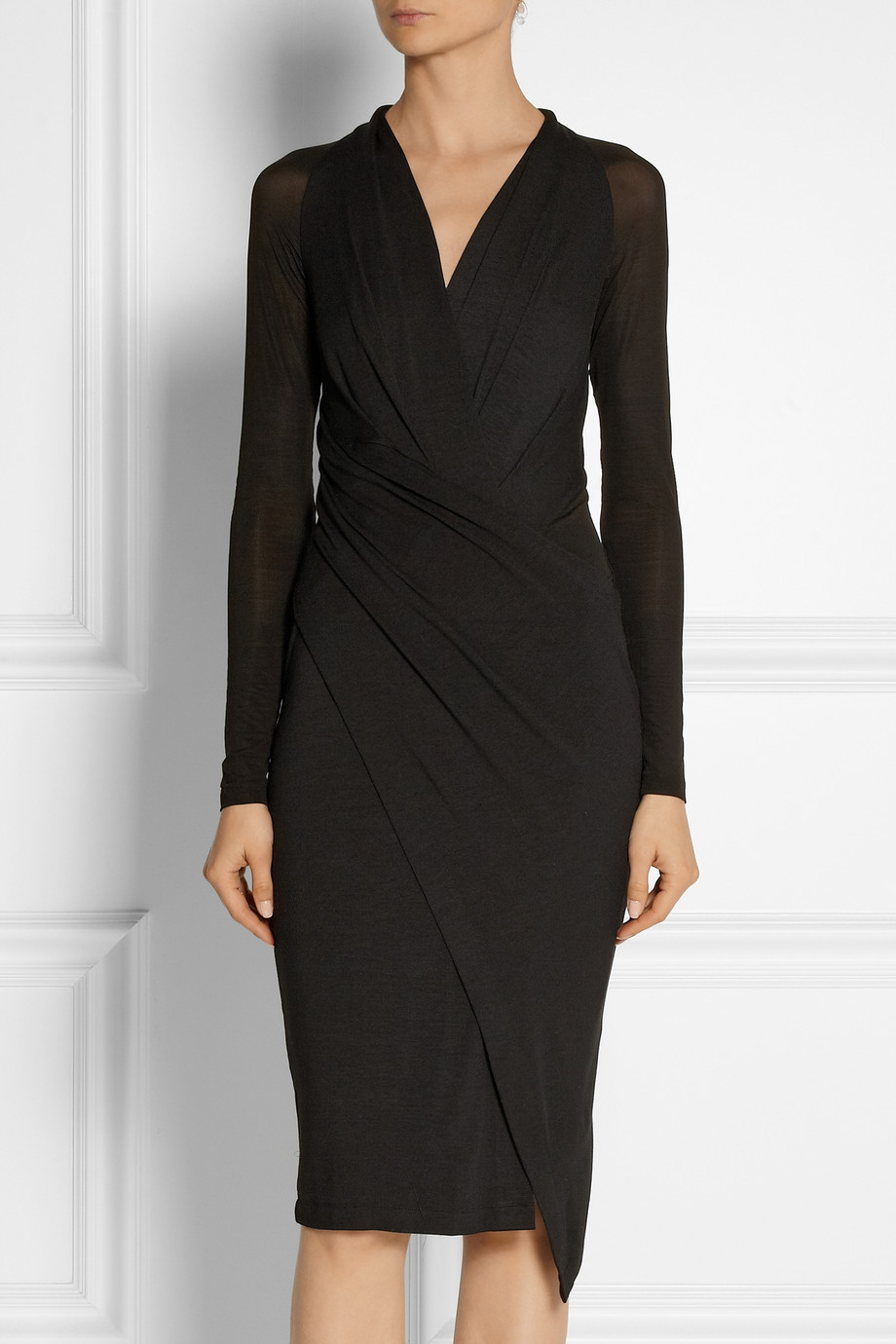 Donna Karan Wrap Effect Stretch Jersey Dress In Black Lyst