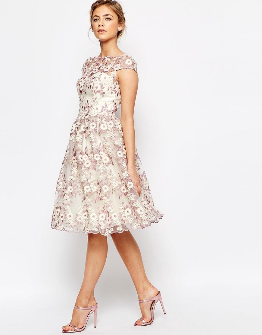 Chi Chi London Premium Floral Lace Midi Dress With Bardot