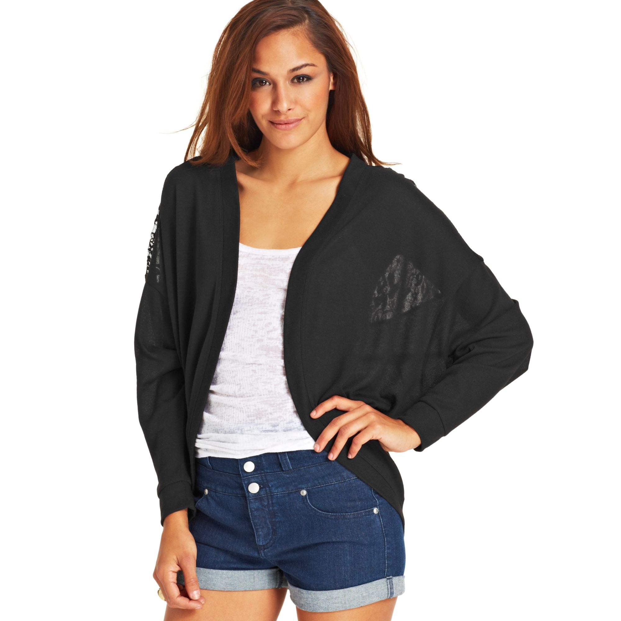 Material girl Juniors Lace Cocoon Cardigan in Black | Lyst