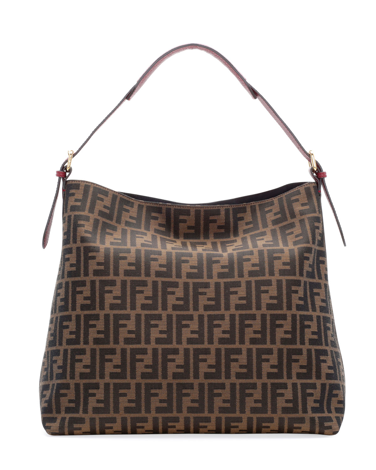 Fendi Zucca-Print Large Canvas Hobo Bag in Brown | Lyst