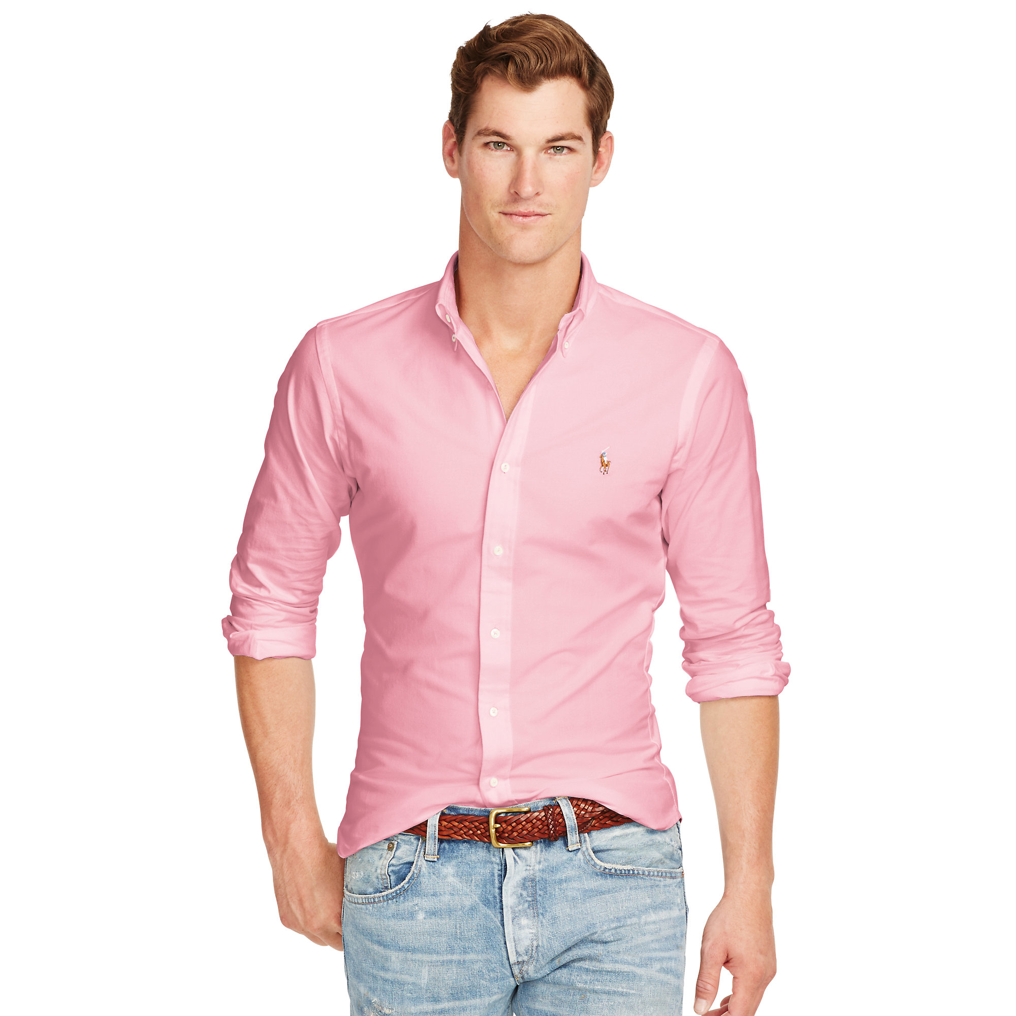177a6c469e8 ... promo code lyst polo ralph lauren slim fit stretch oxford shirt in pink  for men 90e27 ...