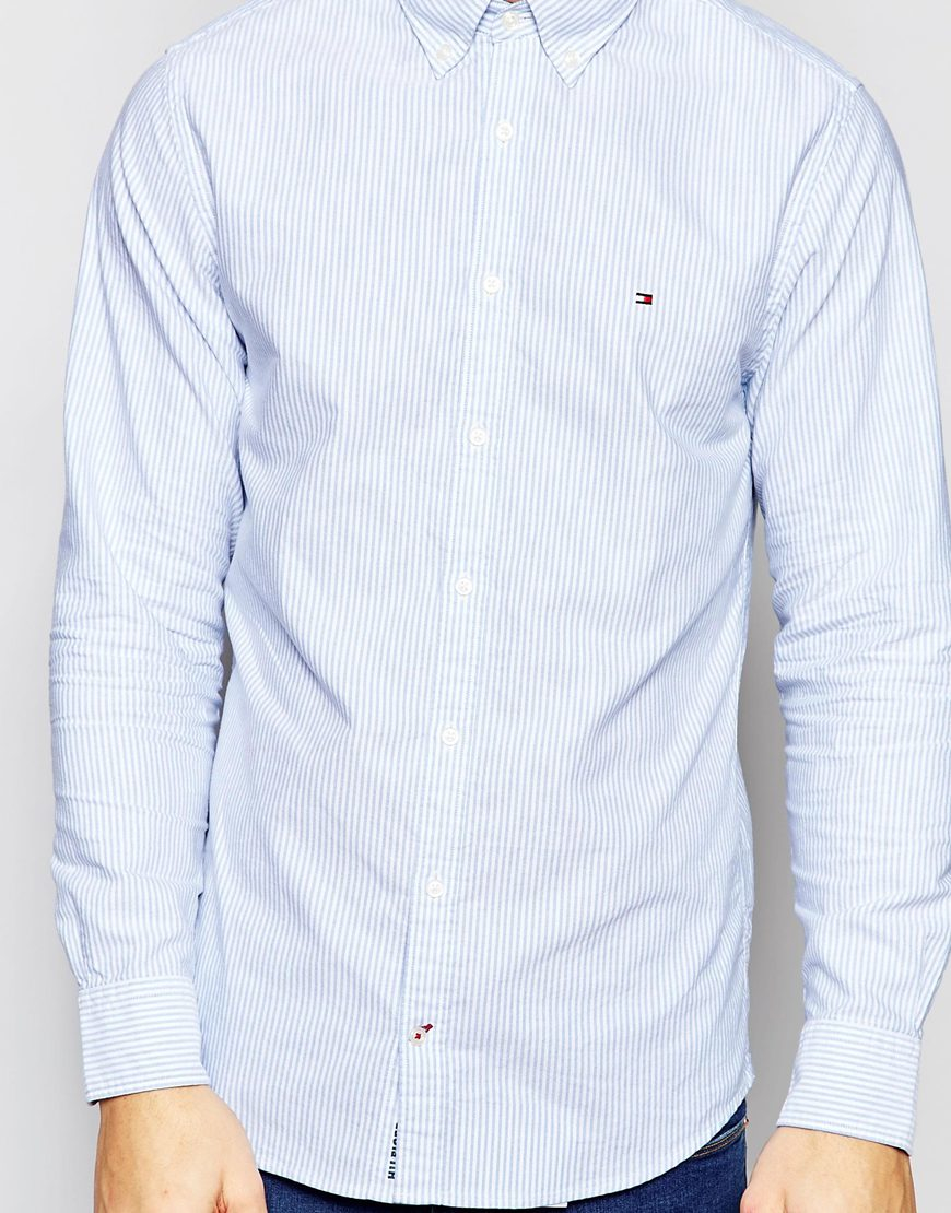 7c58e3036 Tommy Hilfiger Oxford Shirt With Fine Stripe New York Regular Fit in Blue  for Men - Lyst