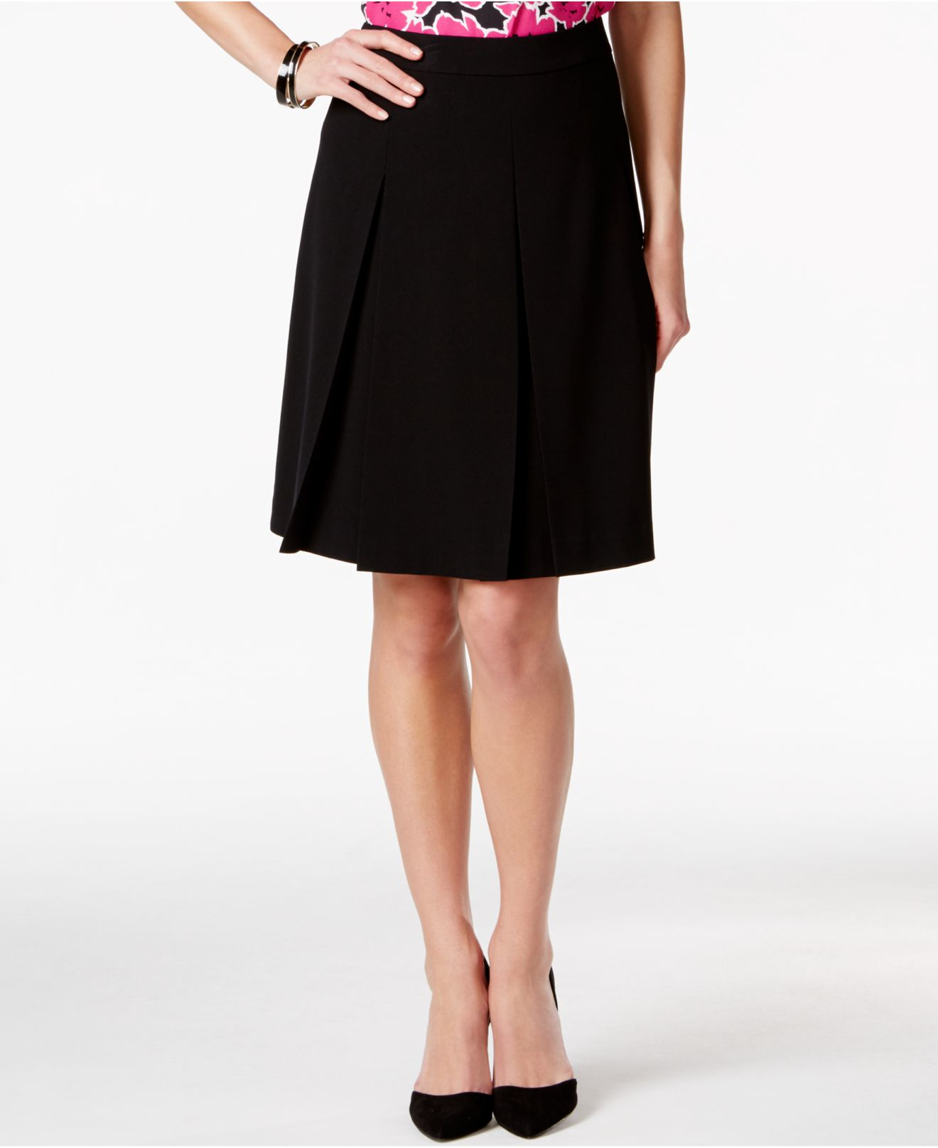 nine west a line pleated skirt in black save 25 lyst