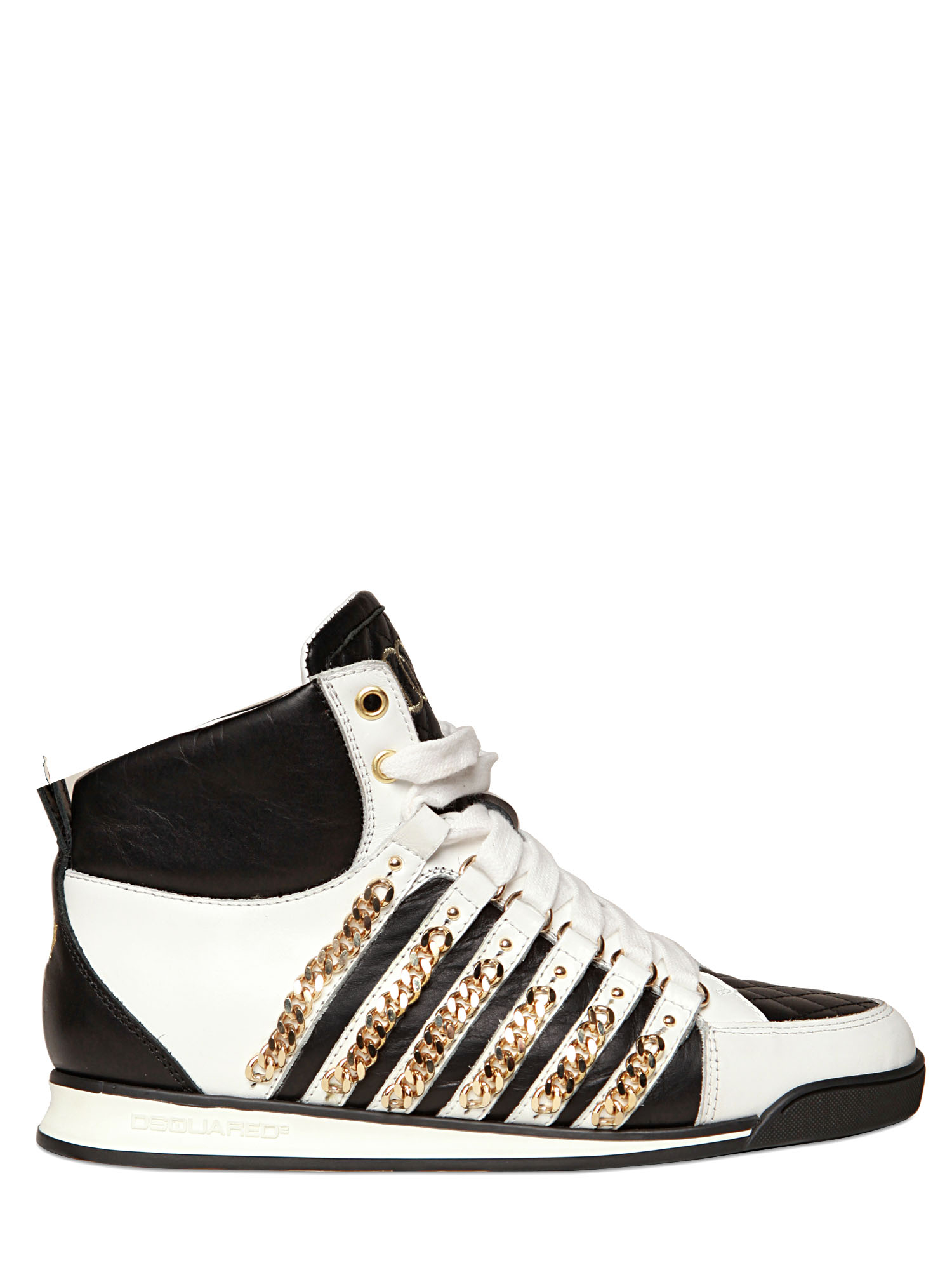 33015d6d381 Lyst - DSquared² 50mm Leather Chain High Top Sneakers in White