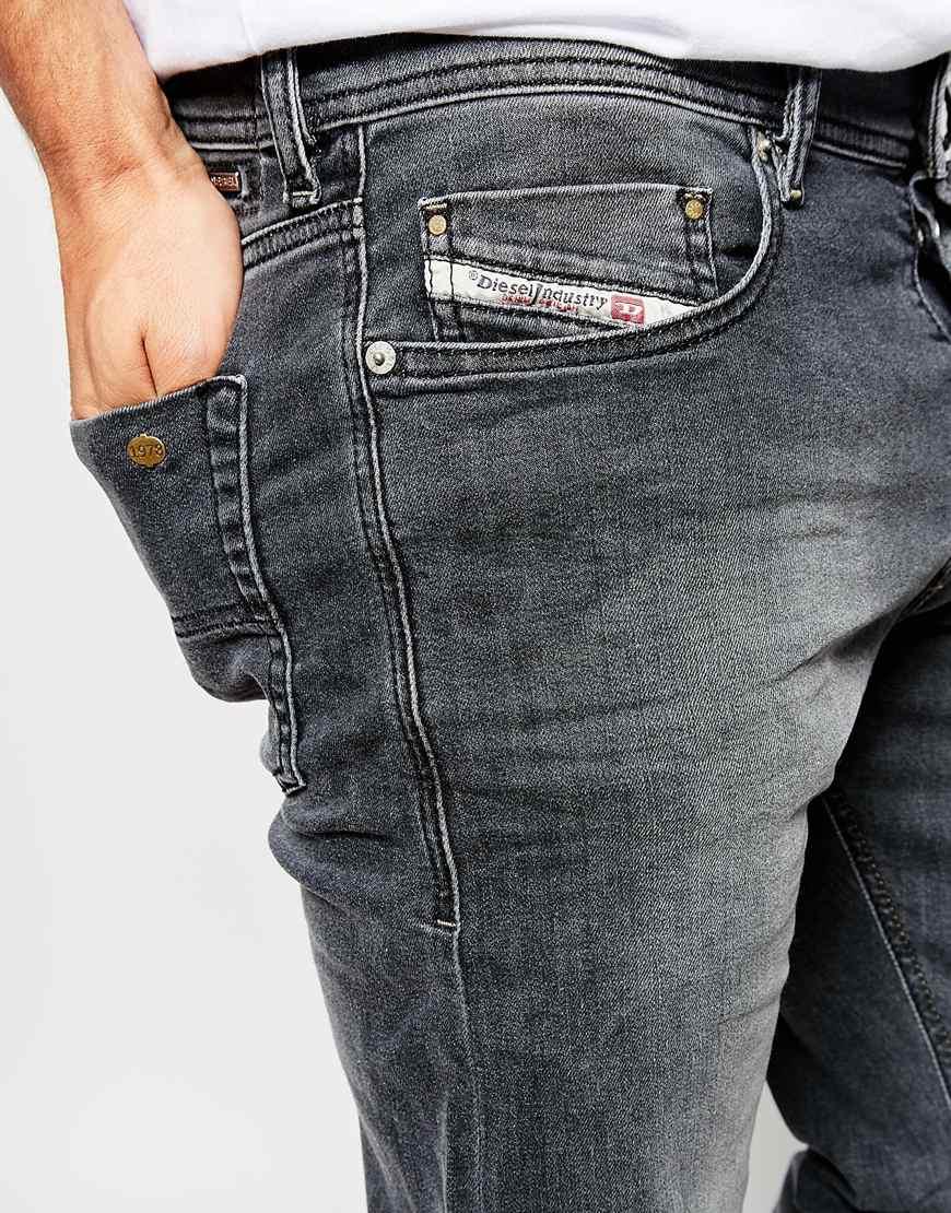 5308c16f1a6b DIESEL Jeans Tepphar 662u Skinny Fit Stretch Mid Grey Wash in Gray ...