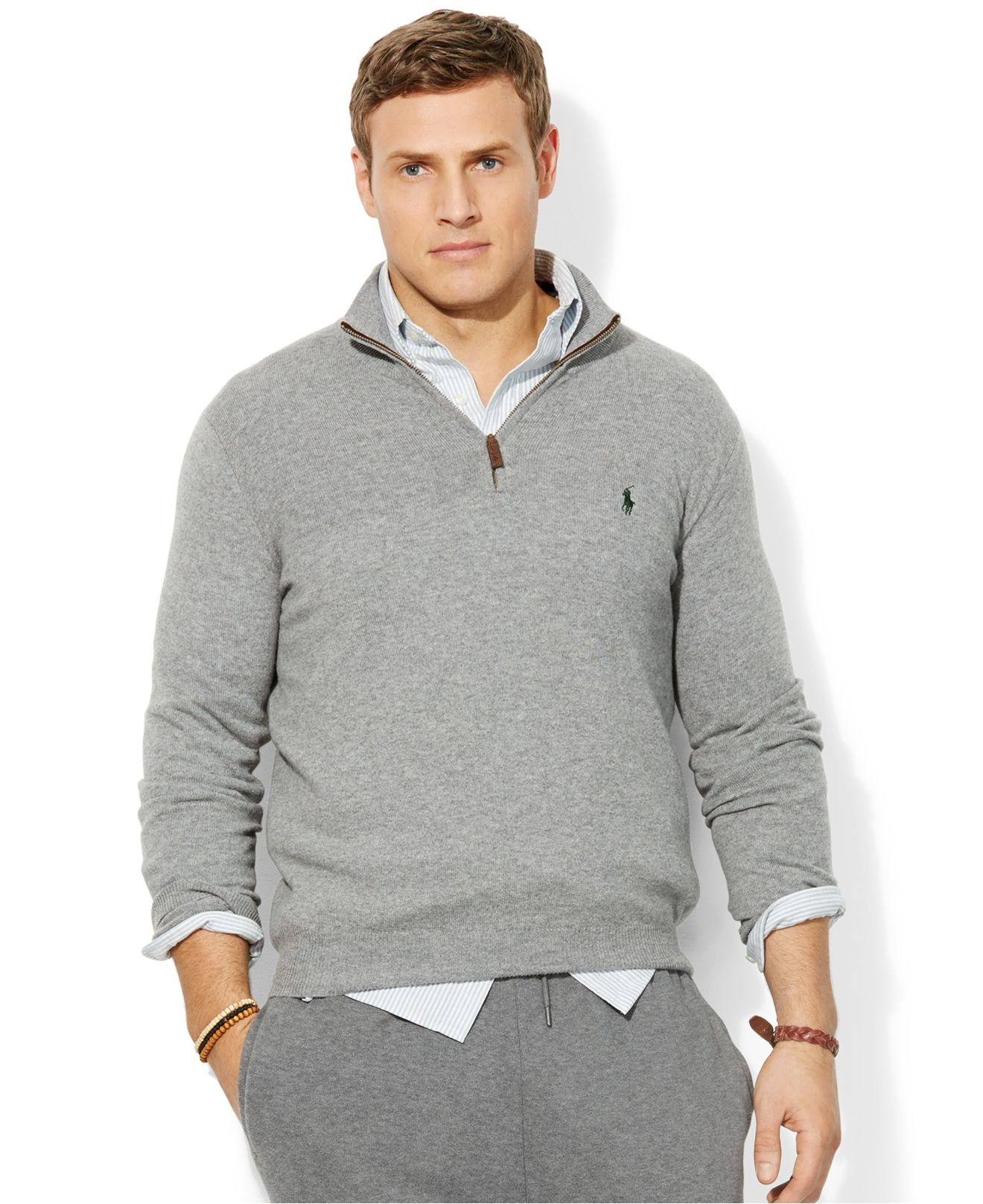 Lyst - Polo Ralph Lauren Big And Tall Loryelle Wool-Blend Quarter Zip  Sweater in Gray for Men 39a8e9bb6a58