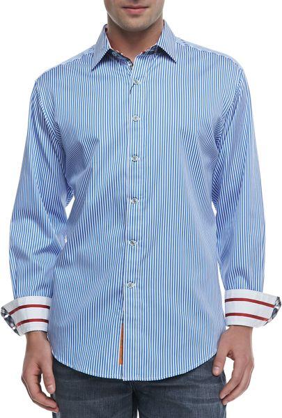 Robert graham excalibur striped sport shirt blue in blue for Robert graham sport shirt