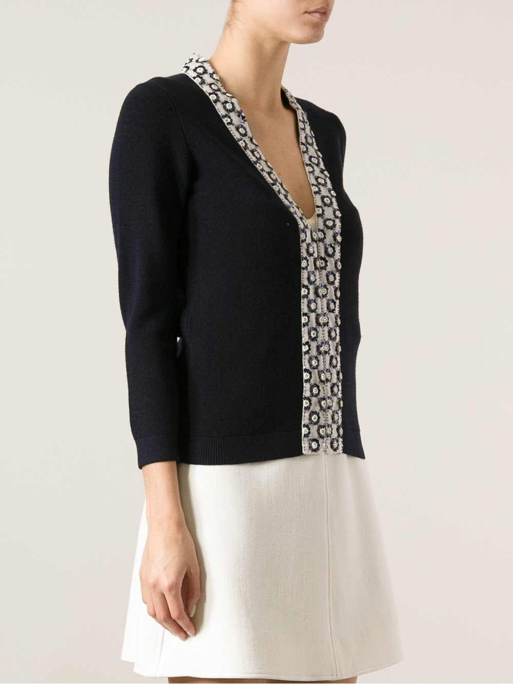 Tory burch Sequin Embellished Cardigan in Blue | Lyst