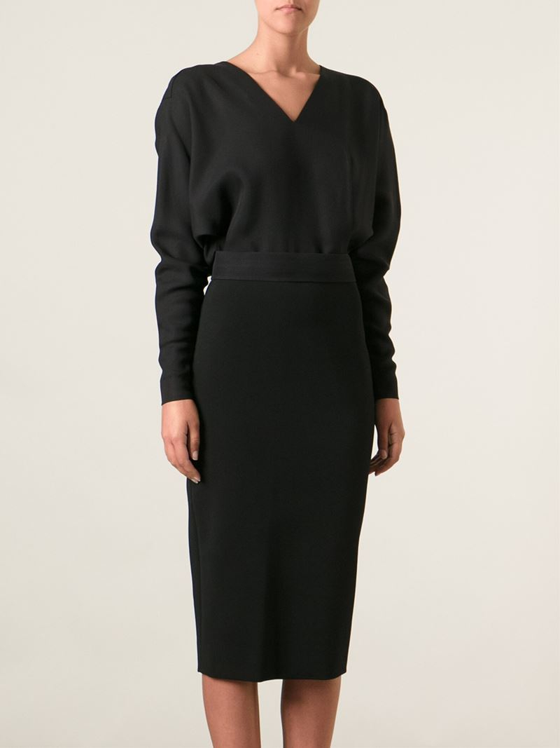 Lyst Victoria Beckham Puffed Sleeves Pencil Dress In Black