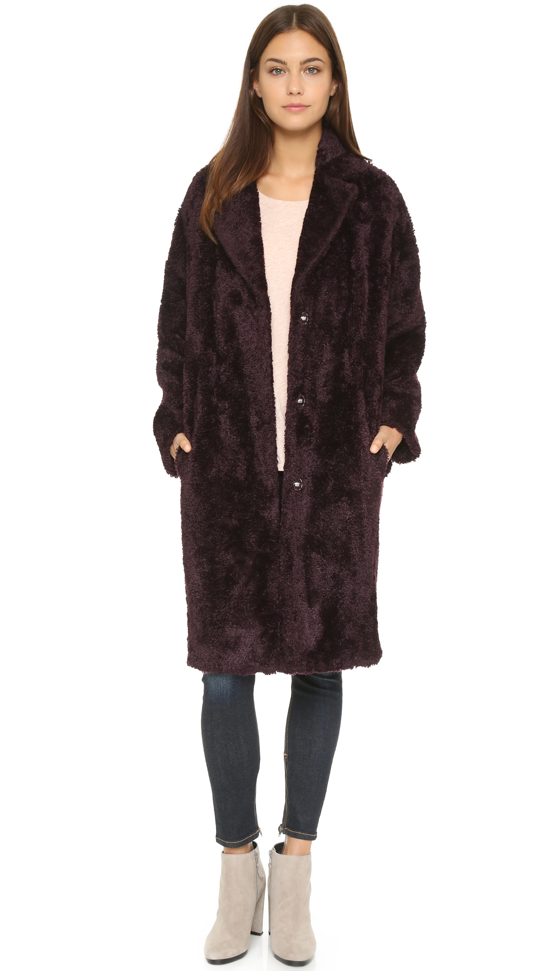 074389155f Whistles Teddie Faux Fur Cocoon Coat - Bordeaux in Purple - Lyst