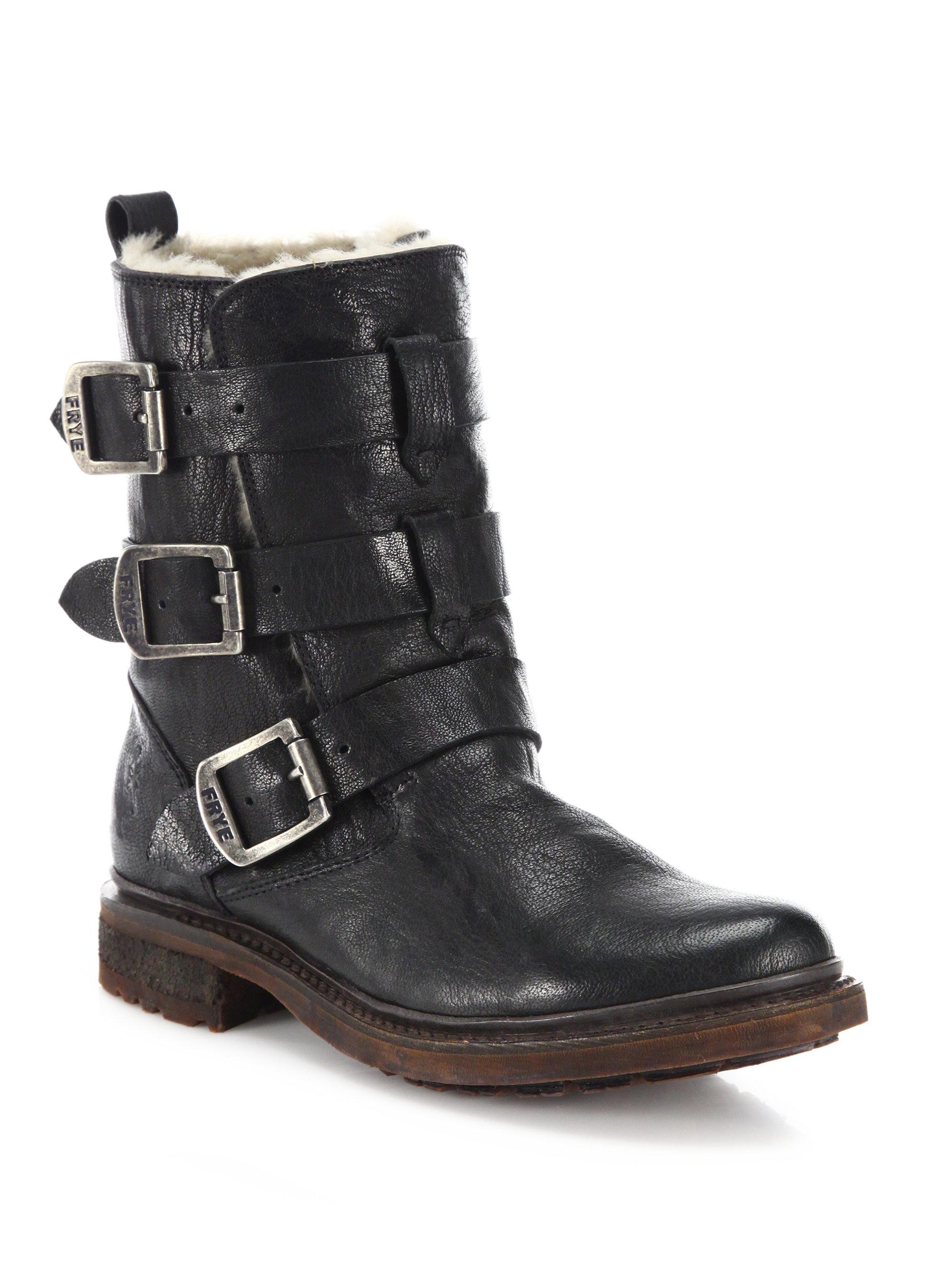 frye valerie leather shearling strappy moto boots in