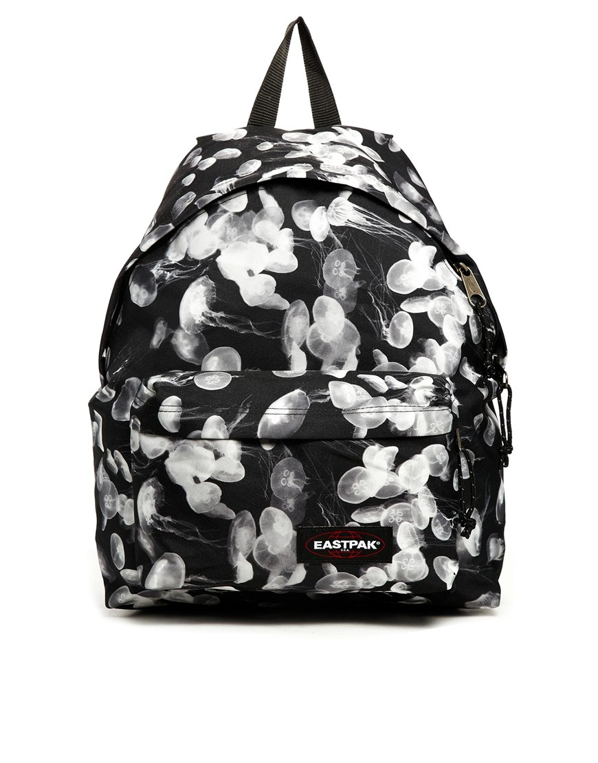 Eastpak Padded Pak R Leather Backpack In Black For Men: Eastpak Padded Pakr With Jellyfish Print In White (Black