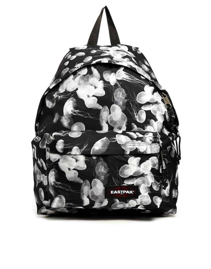 Eastpak Padded Pak R Backpack Black: Eastpak Padded Pakr With Jellyfish Print In White (Black