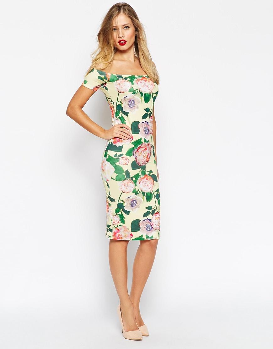 Lyst - Asos Bardot Midi Bodycon Jewel Floral Dress