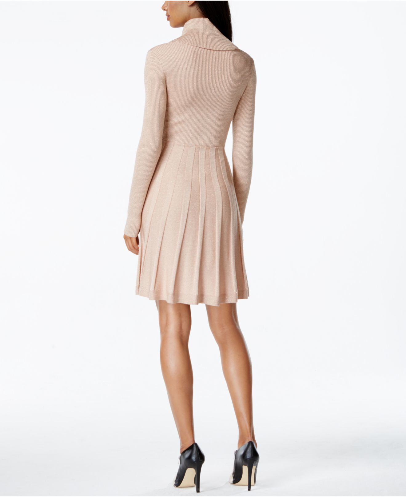 a18d3ff5261 Calvin Klein Cowl-neck Fit   Flare Sweater Dress in Pink - Lyst
