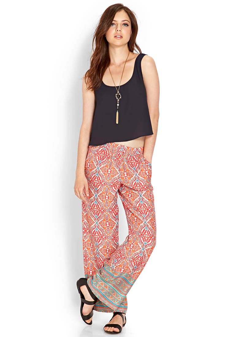 Lyst forever 21 tribal print wide leg pants in pink for Thigh jewelry forever 21