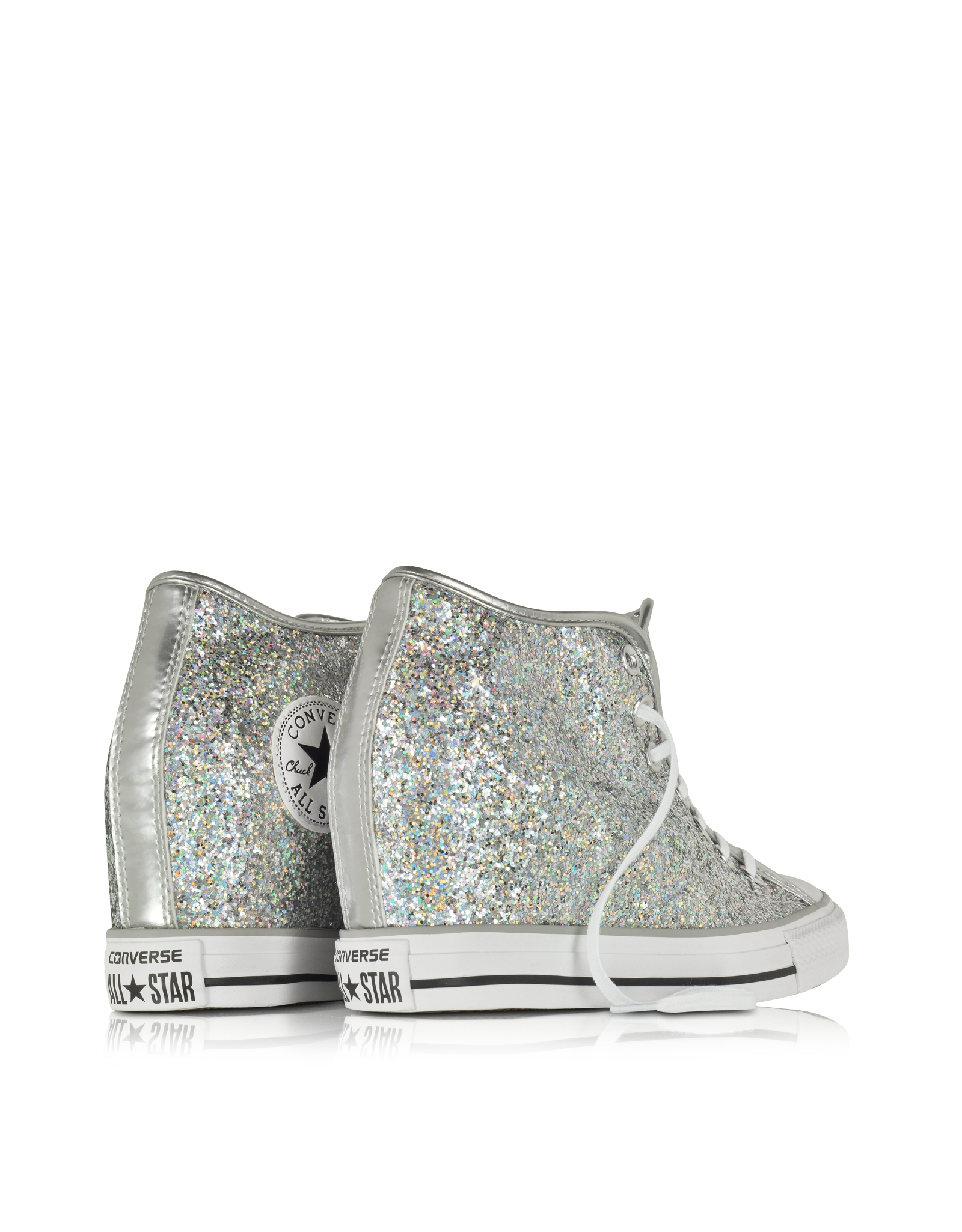 3693a58232b Lyst - Converse All Star Mid Lux Glitter Wedge Sneaker in Black