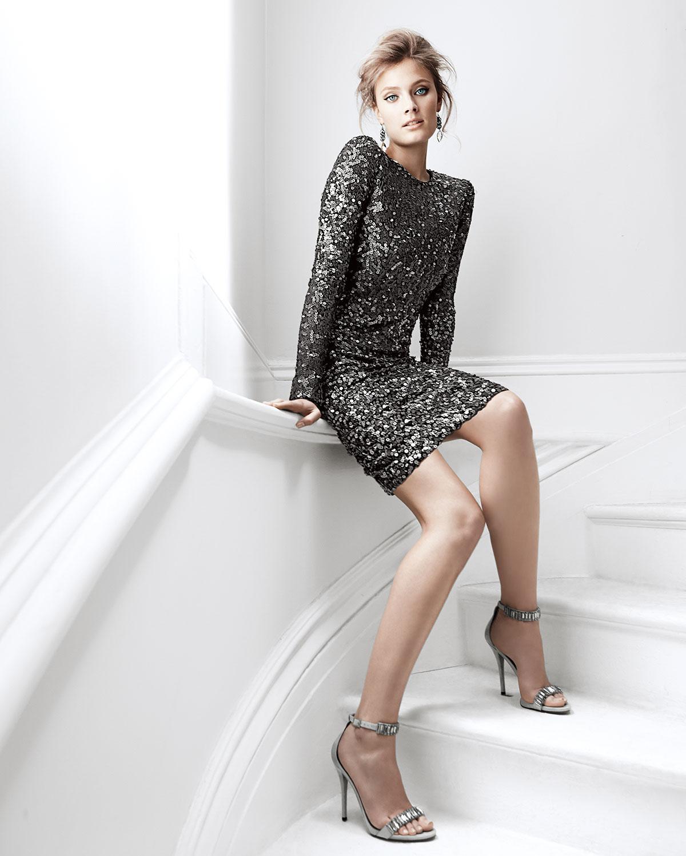 Lyst Rachel Zoe Adrienne Long Sleeve Sequined Dress In Gray