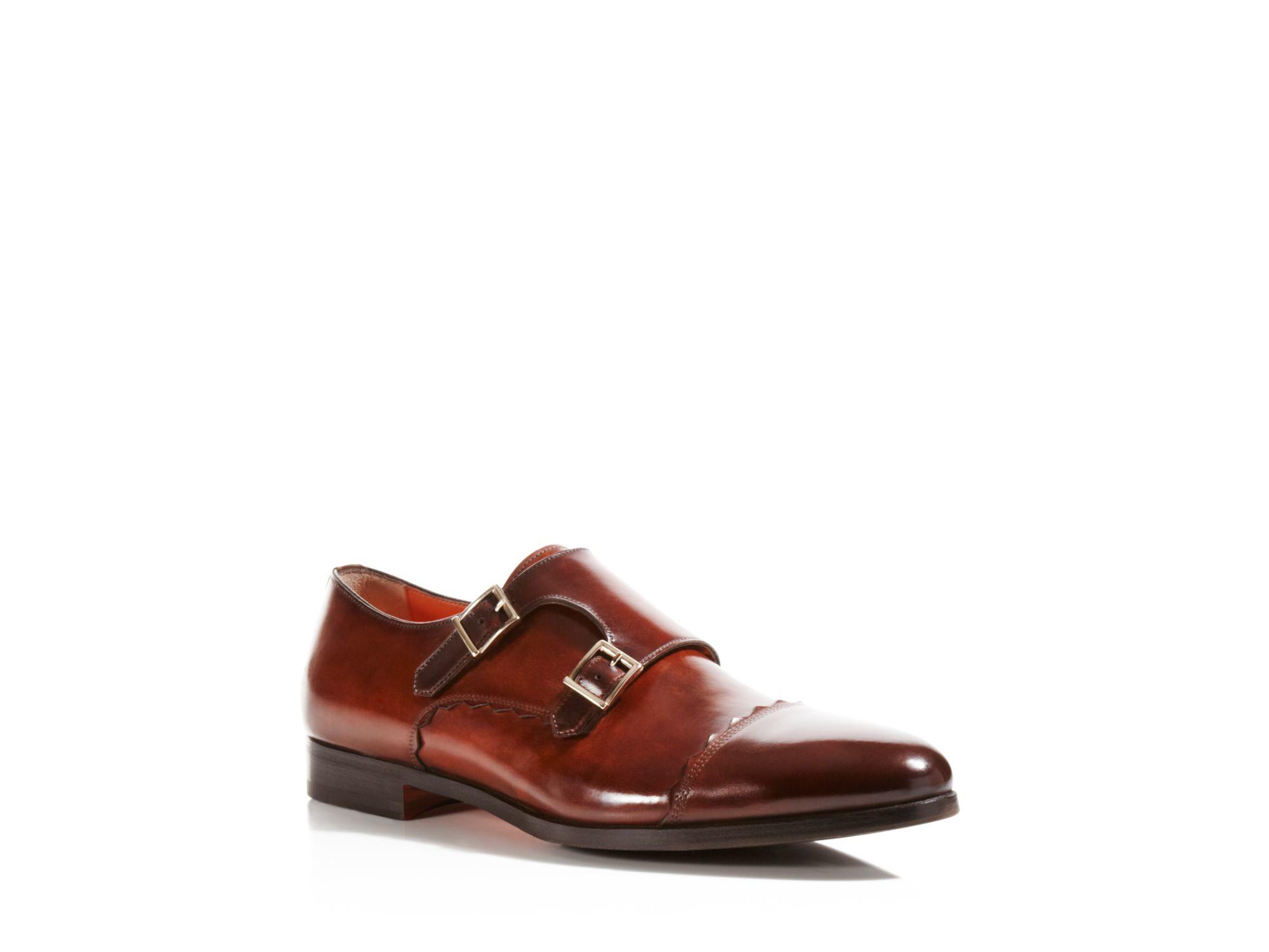 side buckles embellished monk shoes - Brown Santoni MXiavTcL
