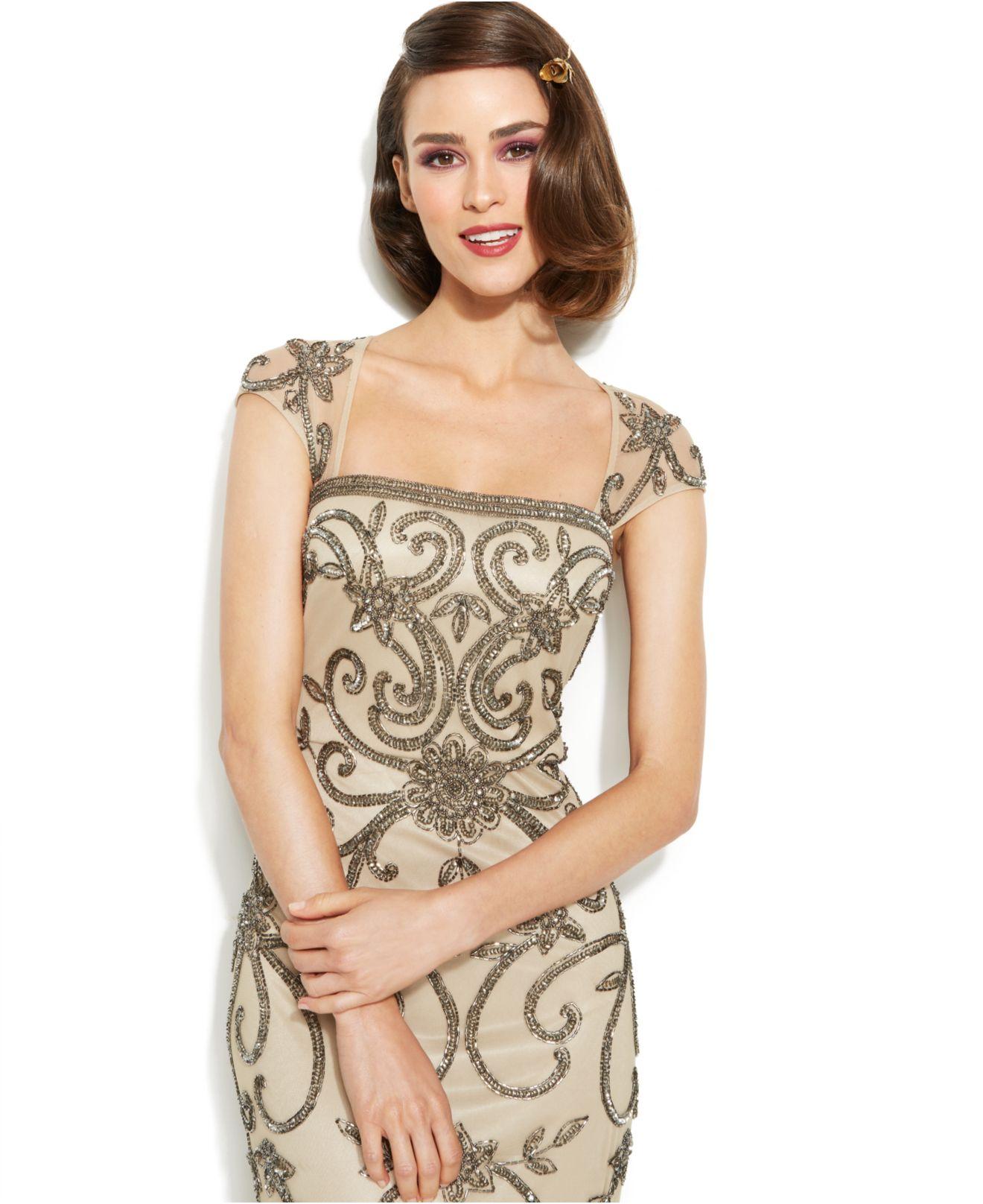 Adrianna Papell Cap-Sleeve Embellished Illusion