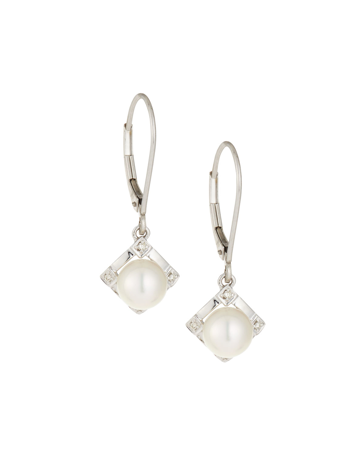 Belpearl 14k Diamond Pavé Caged Pearl Earrings j8aH4