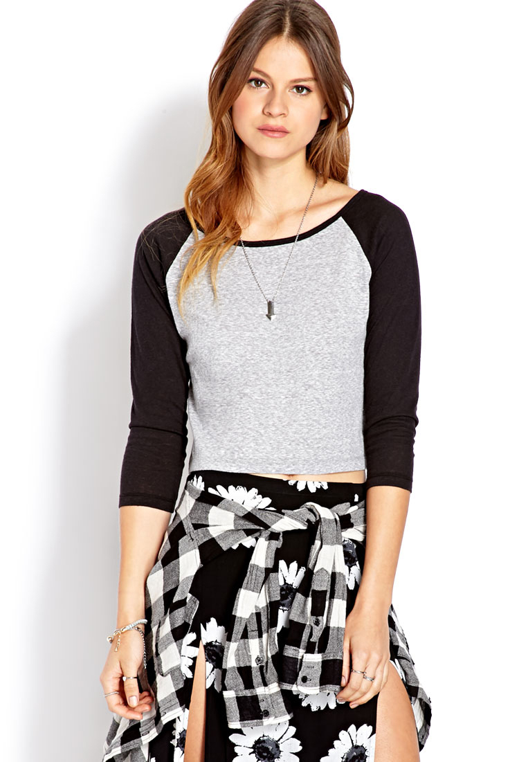 919433650f9f2 Lyst - Forever 21 Cropped Baseball Tee in Gray