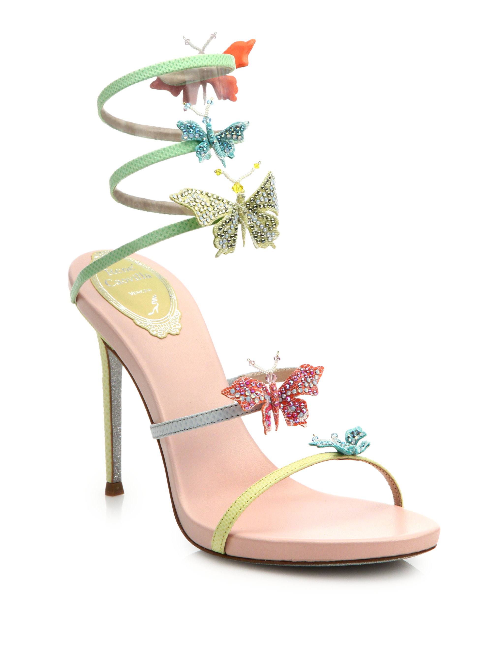 09ab245ad7ee9 Rene Caovilla Butterfly Ankle-wrap Snakeskin Leather Sandals - Lyst