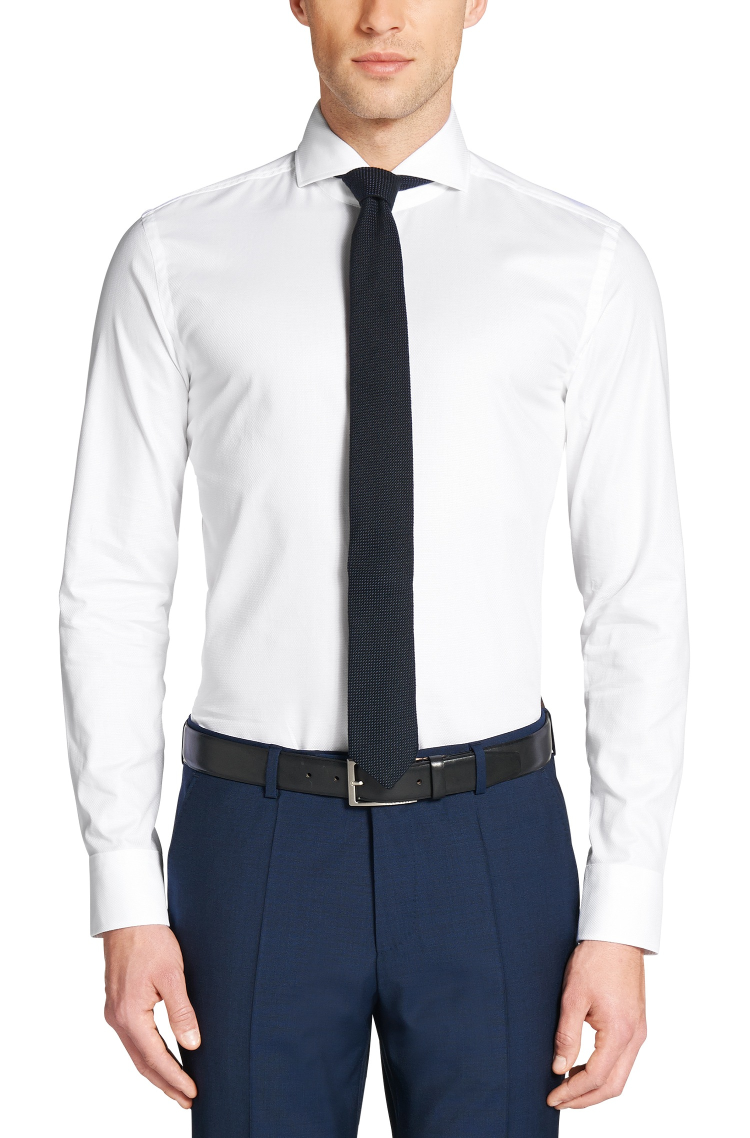 53c12d704 Boss Slim-fit Structured Cotton Shirt: 'dwayne' in White for Men - Lyst
