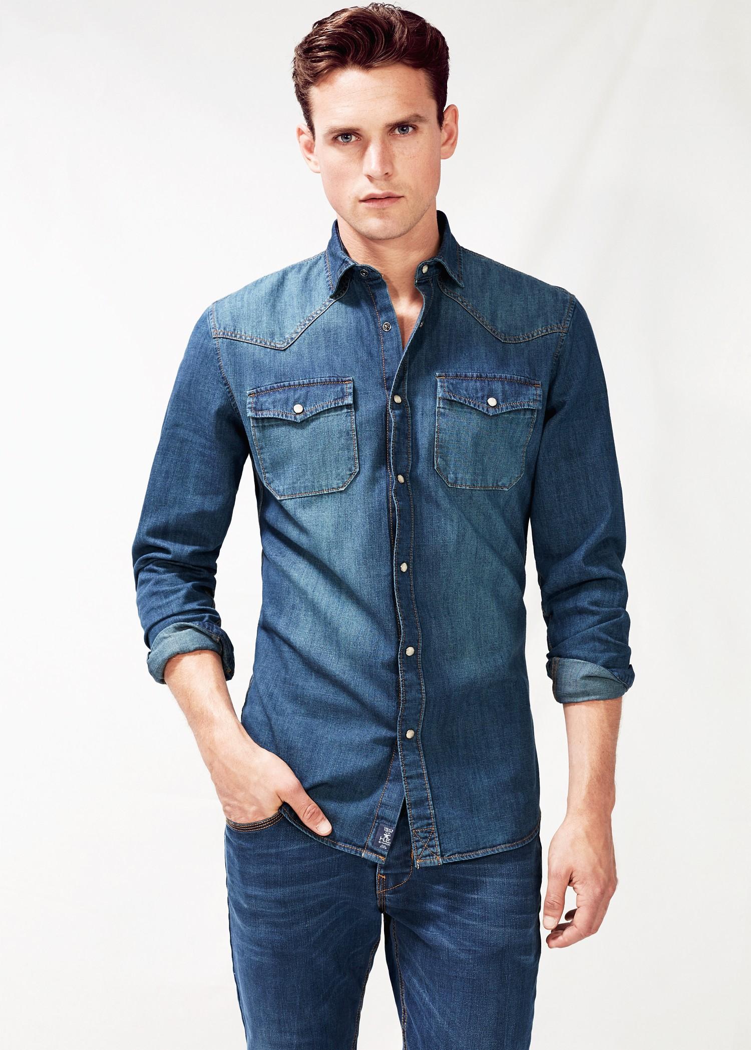 8e4b378e31f Lyst - Mango Classicfit Dark Denim Shirt in Blue for Men