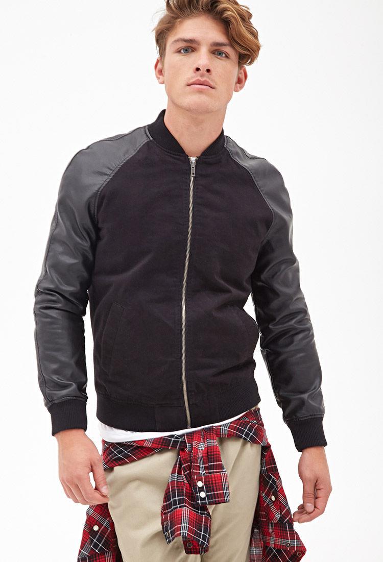 Black faux leather bomber jacket