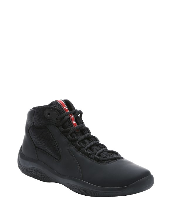 Lyst Prada Sport Black Leather Lace Up Mid Top Sneakers