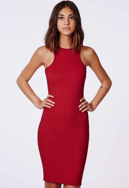 9311c1637b Missguided - Zara Ribbed Racer Midi Dress Red - Lyst