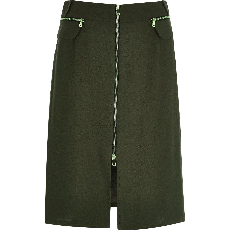 river island khaki zip front midi skirt in lyst