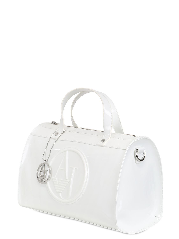 Lyst - Armani Jeans Embossed Logo Patent Vinyl Bag in White e76bb8f749bfc