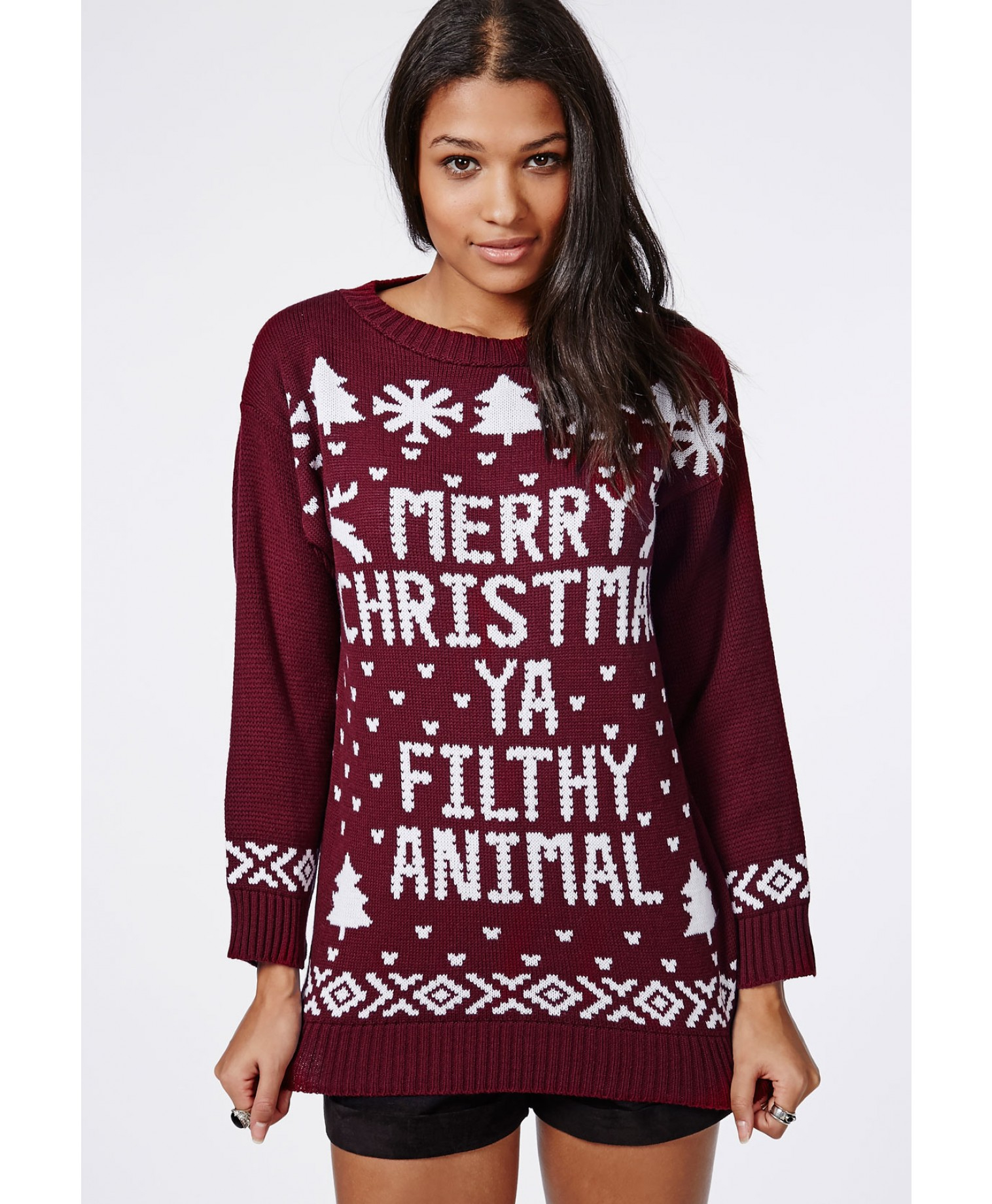 Missguided Merry Christmas Ya Filthy Animal Knitted Christmas ...
