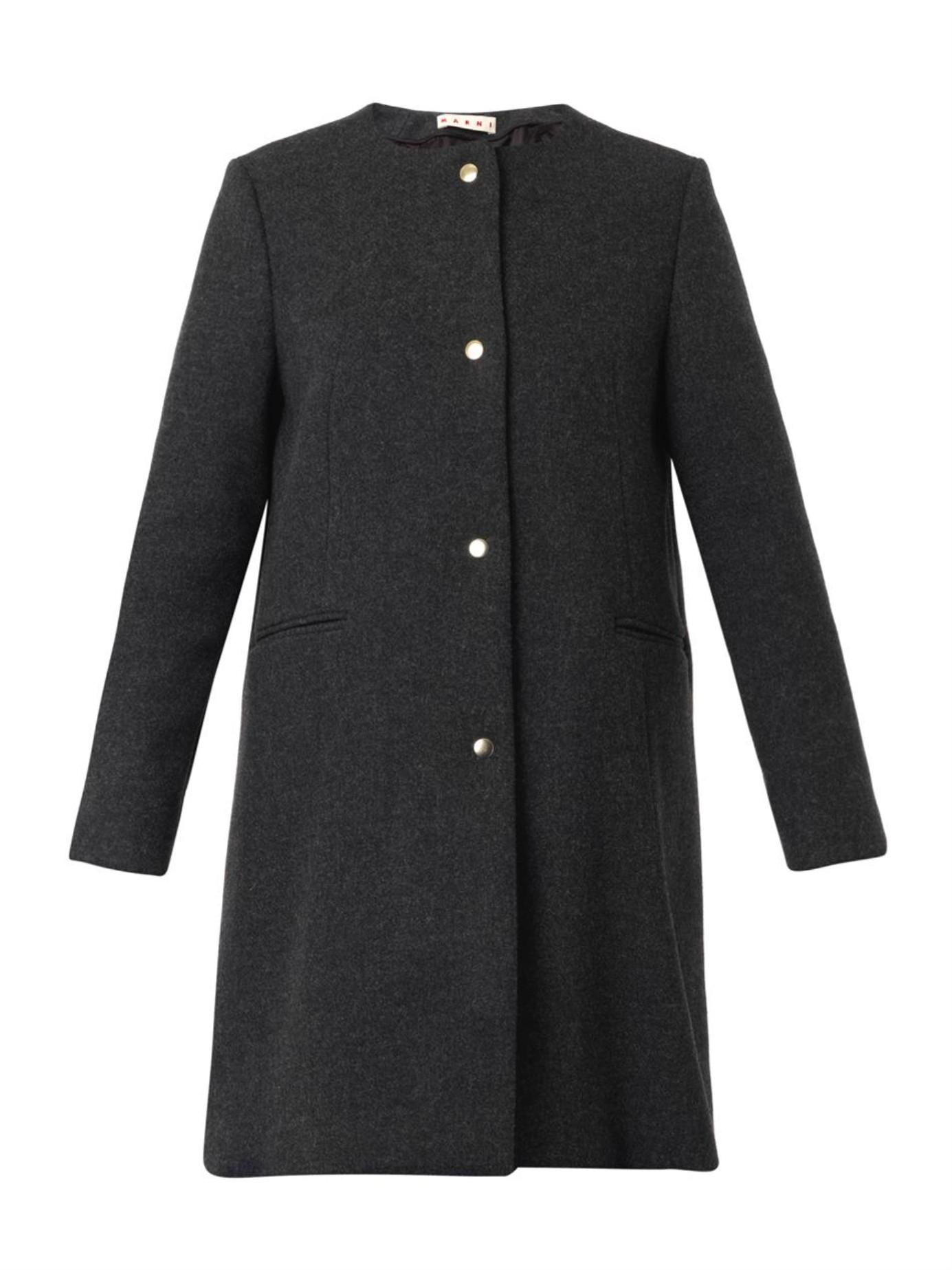 Marni Collarless Wool-Blend Coat in Gray | Lyst