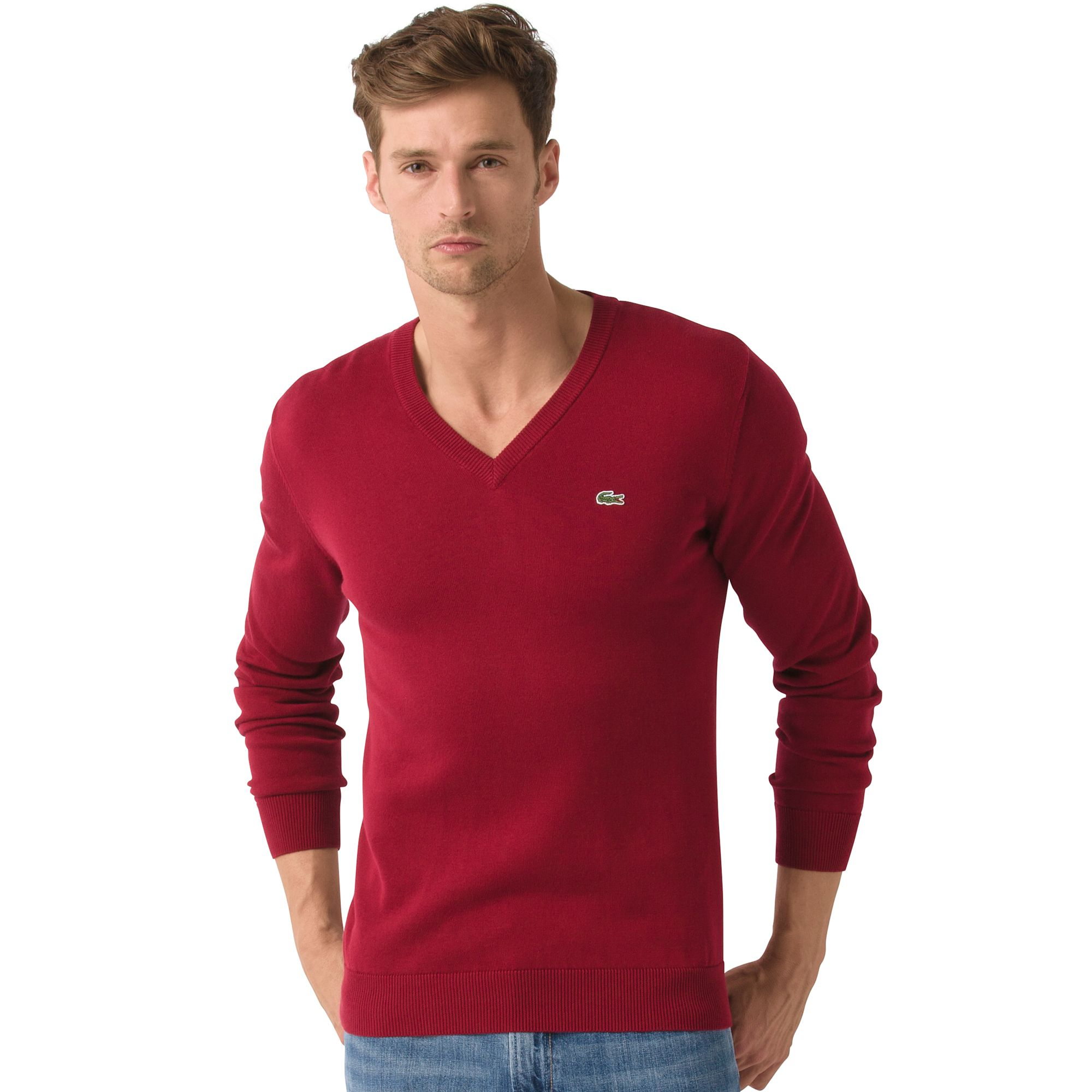 Lacoste Jersey Cotton Classic Vneck Sweater in Red for Men | Lyst