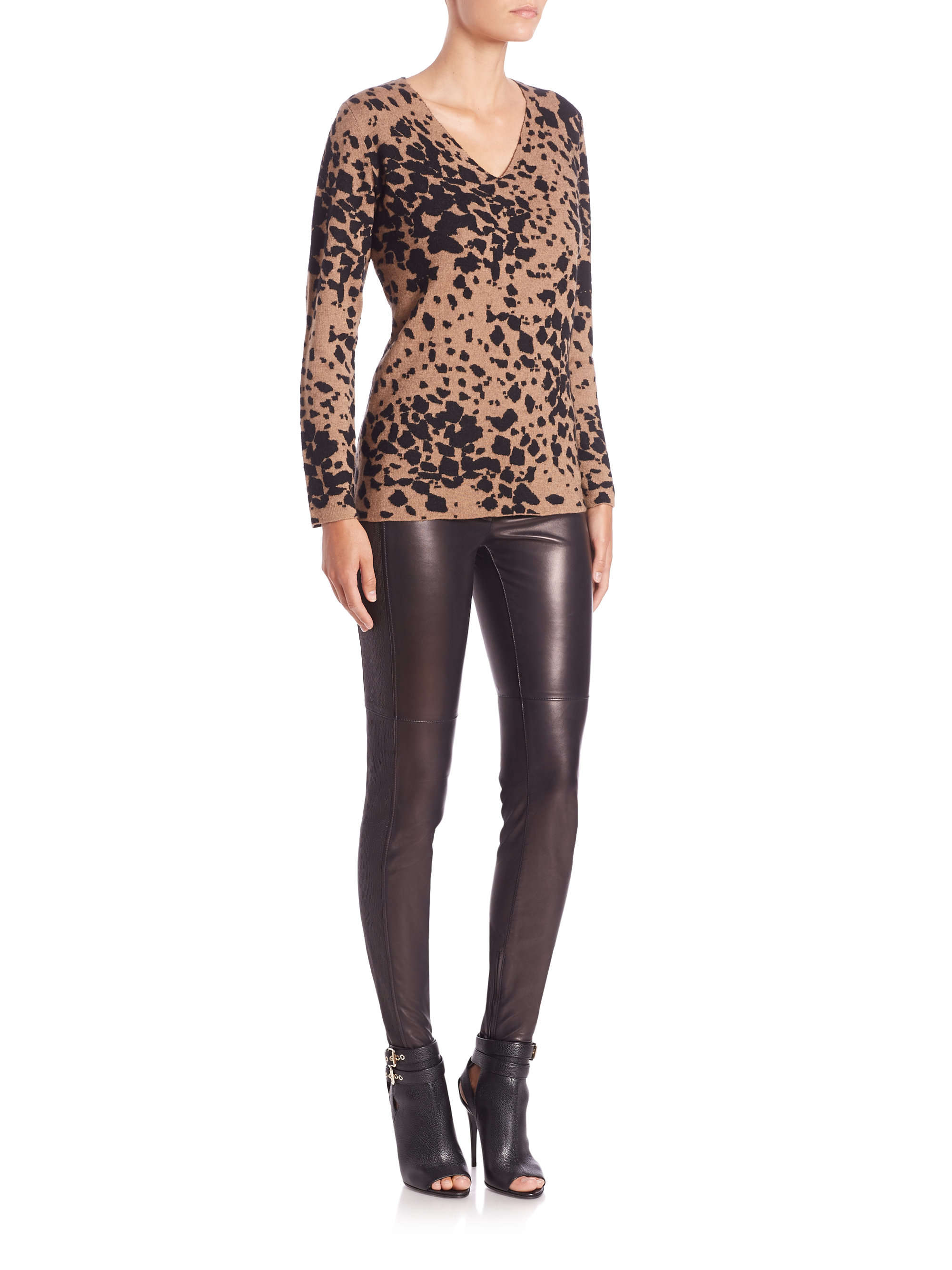 Burberry Leopard-print V-neck Sweater | Lyst