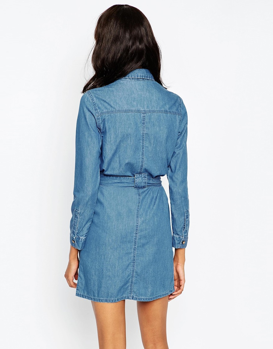 asos denim belted shirt dress in retro blue wash in blue