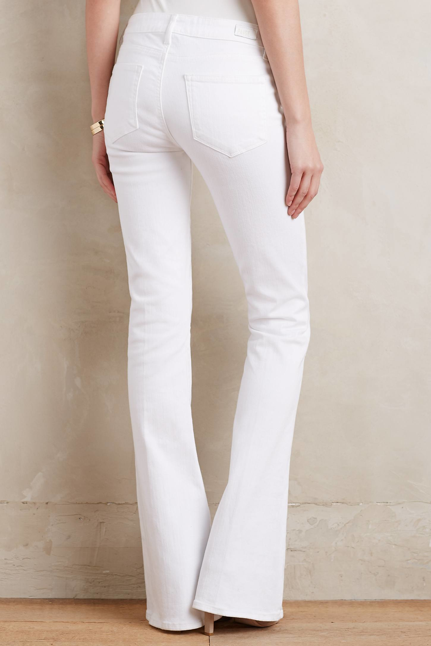Paige Lou Lou Mid-rise Petite Flare Jeans in White   Lyst