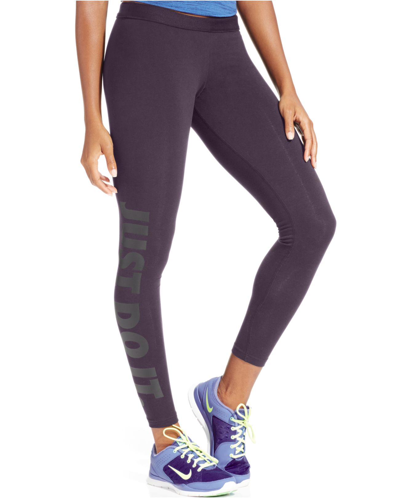 nike leg a see dri fit just do it leggings in purple lyst. Black Bedroom Furniture Sets. Home Design Ideas