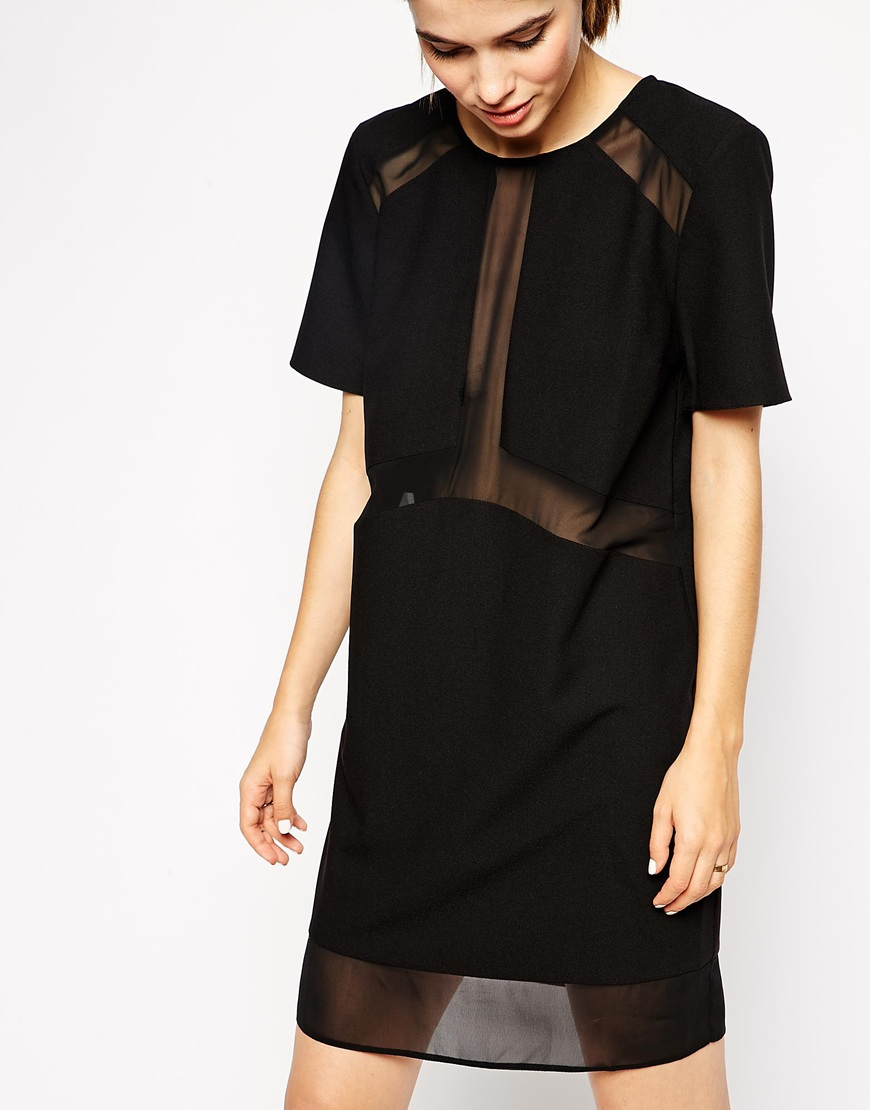 Asos Sheer And Solid T-shirt Dress in Black   Lyst