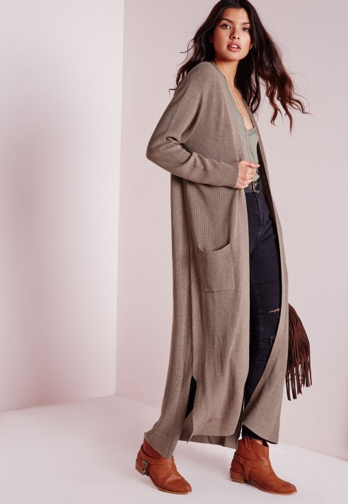 Missguided Chunky Duster Cardigan Taupe in Brown | Lyst