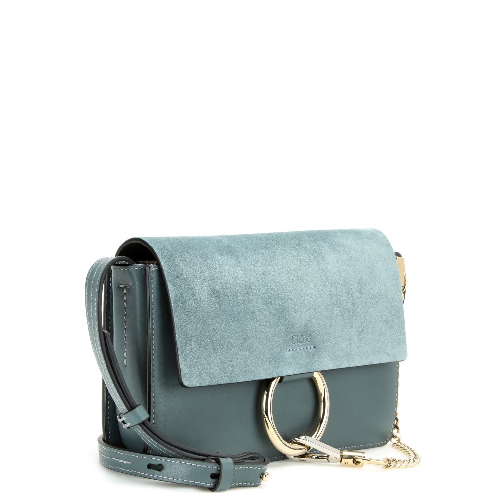 lyst chlo faye small suede and leather shoulder bag in blue. Black Bedroom Furniture Sets. Home Design Ideas