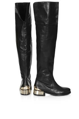 topshop peony thigh high boots in black lyst