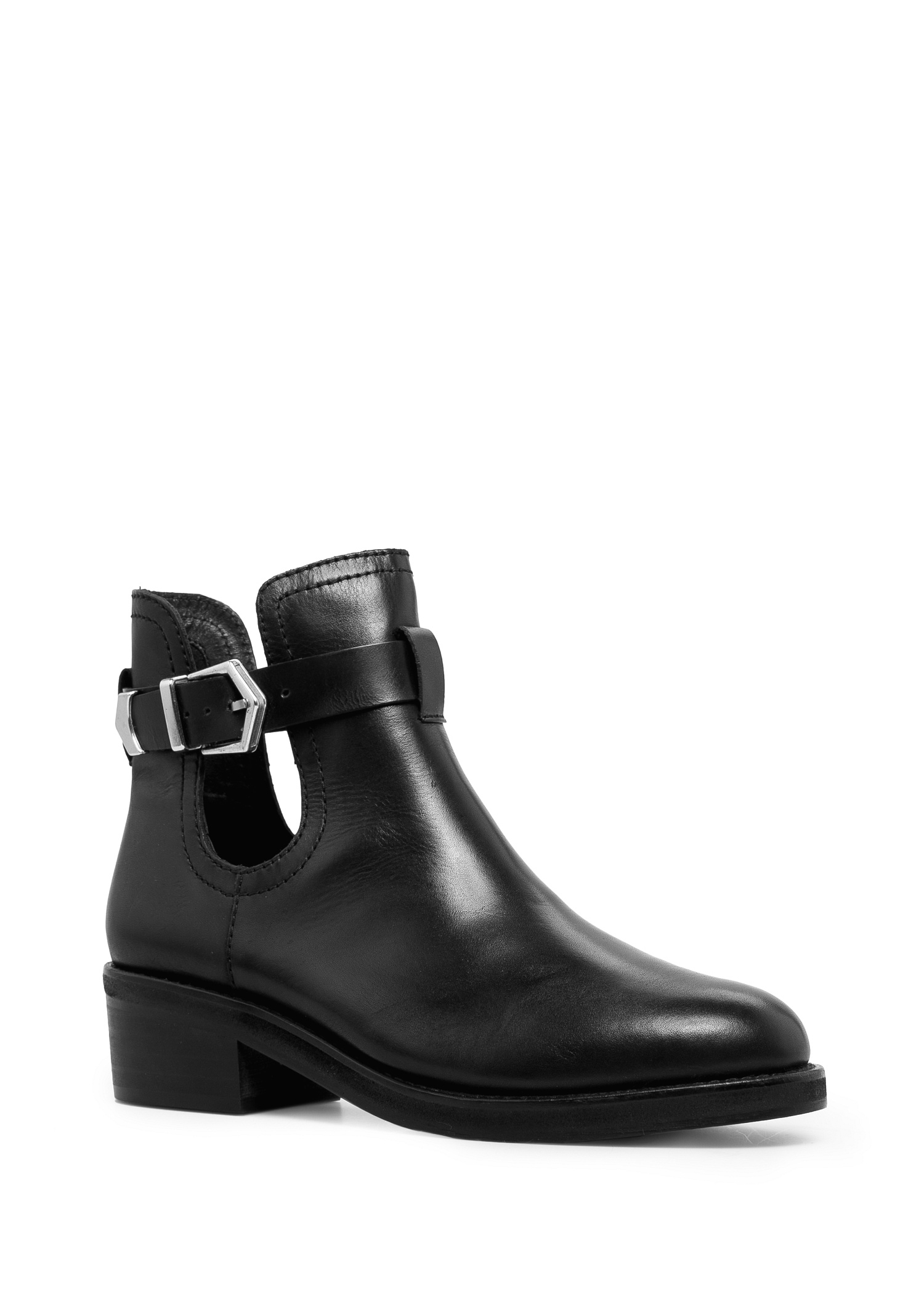 mango cut out leather ankle boots in black lyst