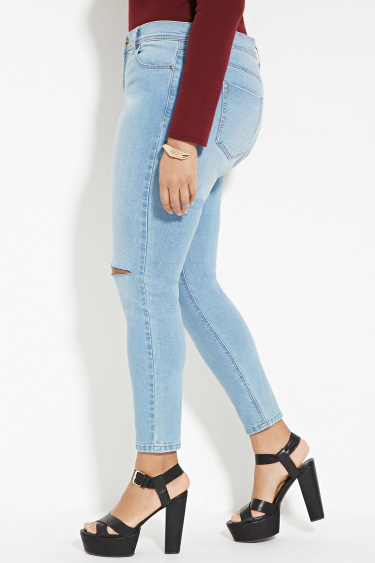 Lyst - Forever 21 Plus Size Ripped Skinny Jeans in Blue
