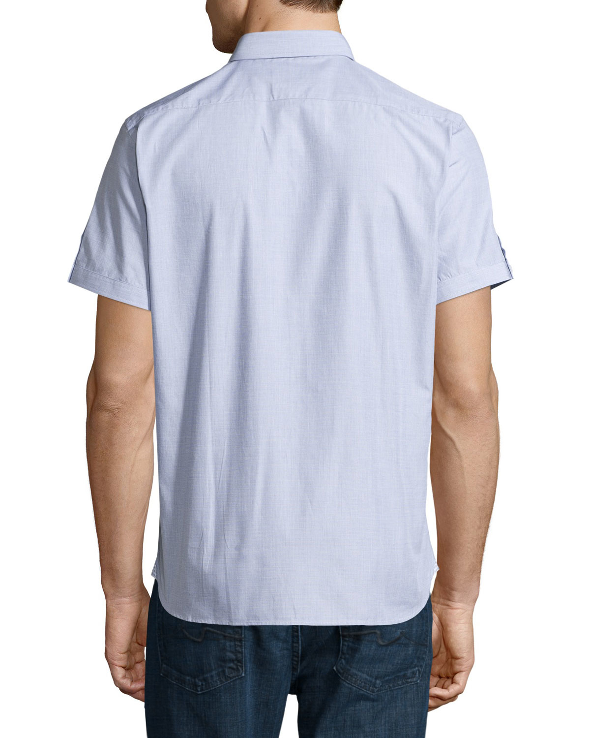 neiman end on end sleeve shirt in white for