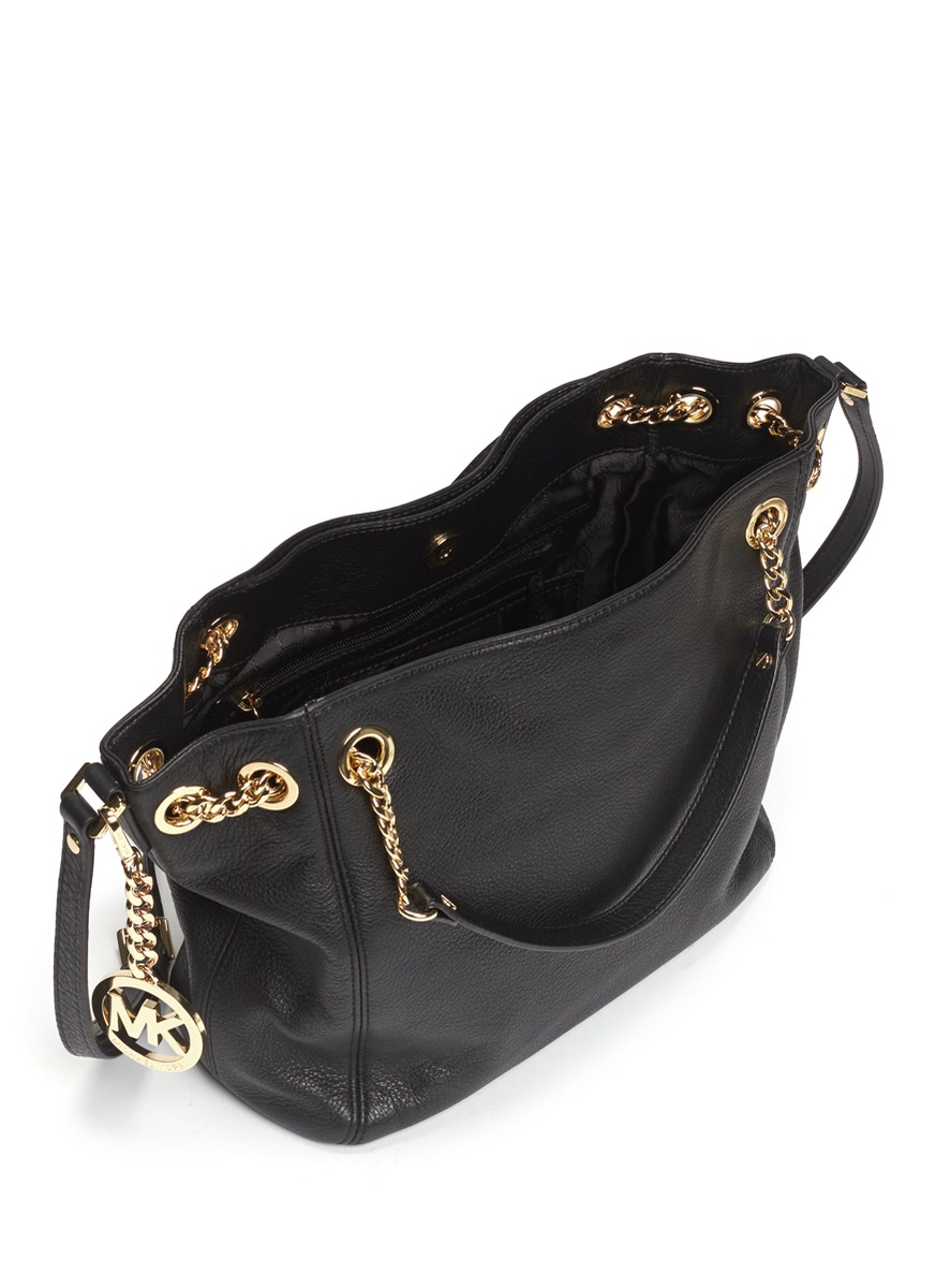 Michael Kors Jet Set Chain Leather Bag In Black Lyst